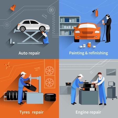 mecanico: Mec�nico concepto de dise�o conjunto con neum�ticos de autom�viles y reparaci�n de motores y pintura de iconos plana aislado ilustraci�n vectorial