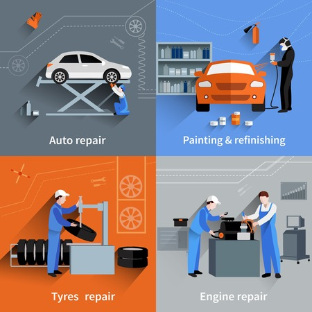 sprays: Mechanic design concept set with auto tyres and engine repair and painting flat icons isolated vector illustration