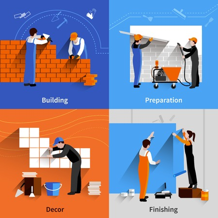 finishing: Worker design concept set with building preparation decor and finishing flat icons isolated vector illustration