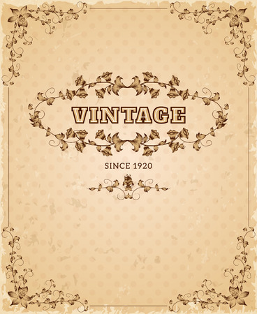 nostalgic: Retro style aged paper ornate nostalgic vintage cover poster decorative design ink sepia abstract vector illustration