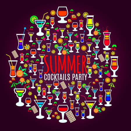 late summer: Bright and fun to drink tropical cocktails icons circle party poster with dark background abstract vector illustration Illustration
