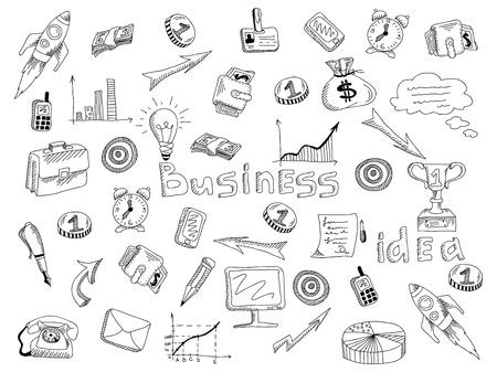 principles: Growing successful business main strategic company organizing principles symbols outlined icons composition black sketch abstract vector illustration