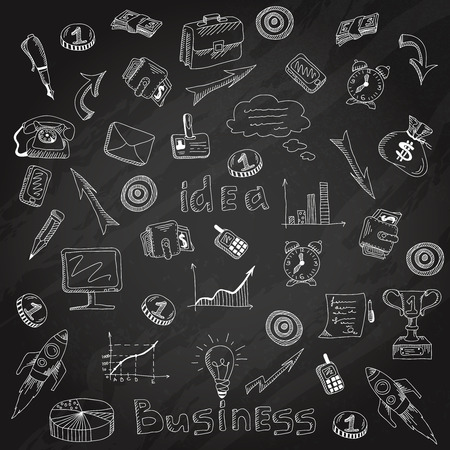 managing money: Successful business funding planning and organization detailed results analysis symbols  backboard chalk line sketch abstract vector illustration Illustration