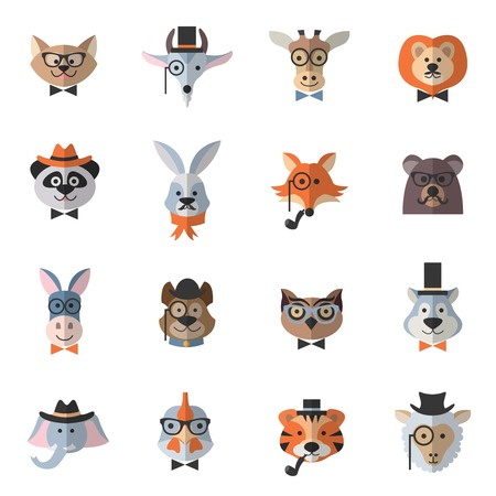 fashion accessories: Animal hipster set with flat chicken owl cat with fashion accessories isolated vector illustration