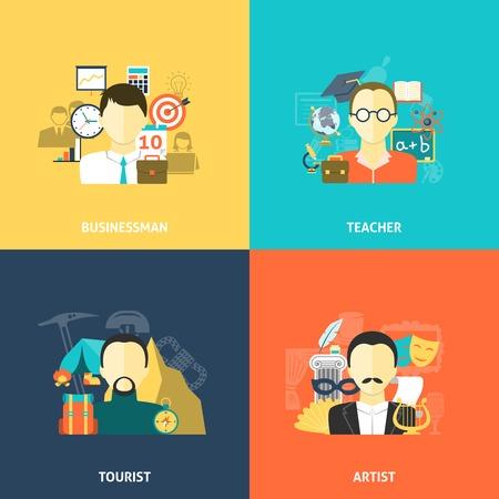 profesores: Avatares concepto de diseño conjunto con turistas profesor empresario y artista iconos planos aislados ilustración vectorial