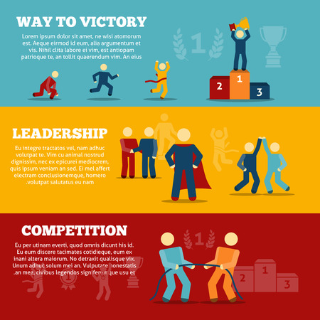 liderazgo: Camino a la victoria plana banners horizontales establecidas con elementos de competencia de liderazgo, aislado ilustración vectorial