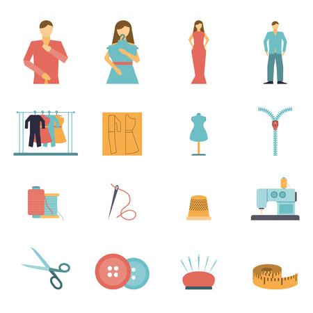 maquinas de coser: Ropa de colores y herramientas de dise�o de moda y materiales icono plana conjunto aislado ilustraci�n vectorial