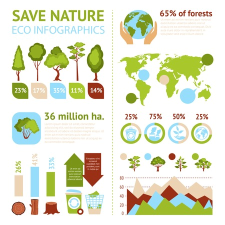 Save nature eco infographics set with forest symbols and charts vector illustration Çizim