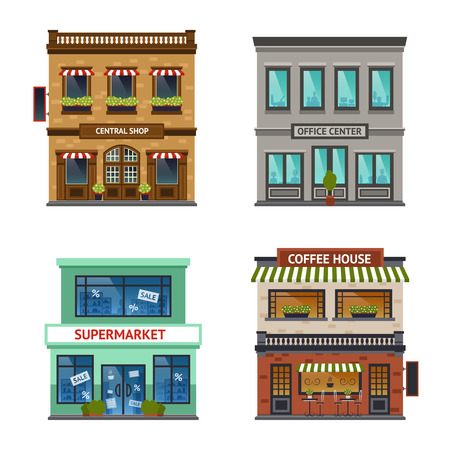 front view: Vintage street view with office center shop coffee house and supermarket icons set abstract isolated  vector illustration Illustration