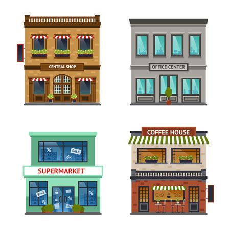 edificio: Vista de la calle de la vendimia con la casa tienda de centro de oficinas café y supermercados iconos conjunto abstracto aislado ilustración vectorial