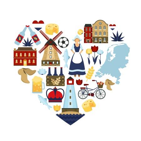 Símbolos y monumentos holandés en forma de corazón ilustración vectorial plana viajar Holanda