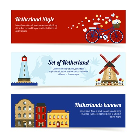 dutch culture: Netherlands horizontal banners with dutch culture elements set isolated vector illustration