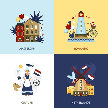 dutch girl: Netherlands design concept set with romantic amsterdam culture flat icons isolated vector illustration Illustration