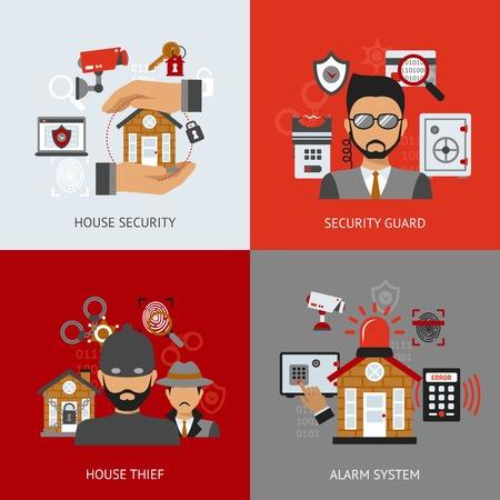 sistemas: Concepto de diseño de seguridad establece con guardia de casa ladrón y sistema de alarma iconos planos aislados ilustración vectorial Vectores