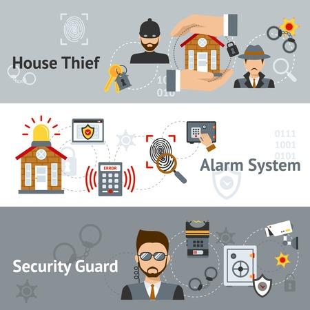 ladron: Seguridad banner horizontal establece con la casa del ladrón y del sistema de alarma elementos aislados ilustración vectorial