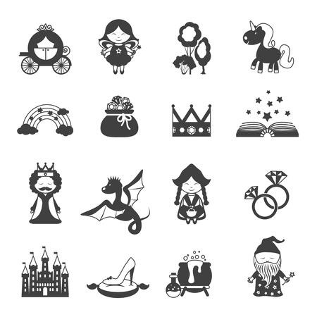 castillos de princesas: Iconos negros cuento de hadas fijaron con el dragón princesa y símbolos mágicos aislados ilustración vectorial
