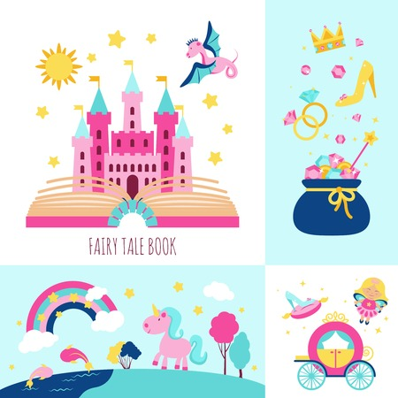 princess castle: Fairy tale book concept with magic fantasy cartoon characters icons set isolated vector illustration