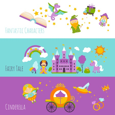 cinderella: Fairy tale horizontal banner set with fantastic characters isolated vector illustration
