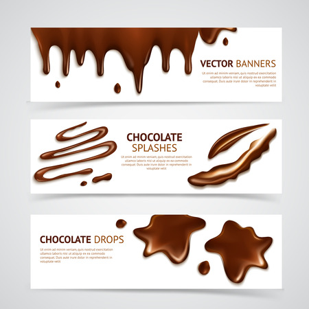 Shiny smooth delicious dark premium chocolate splashes and mouth watering drops banners set realistic isolated vector illustration