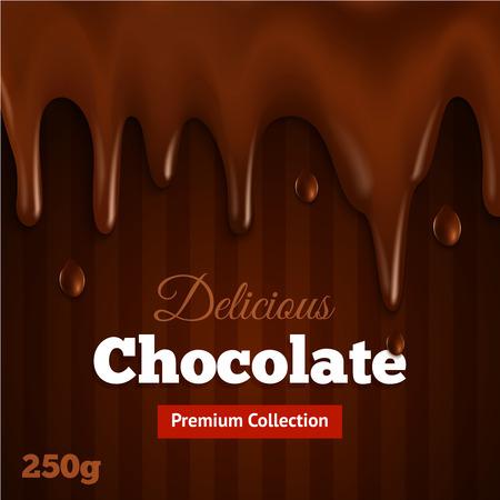 Cobro de las primas de impresión derretida agridulce Fondo oscuro de chocolate para fondue deliciosa cazos receta de postre resumen ilustración vectorial