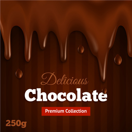 melting chocolate: Dark bittersweet melted premium collection chocolate background print for delicious fondue dippers dessert recipe abstract vector illustration