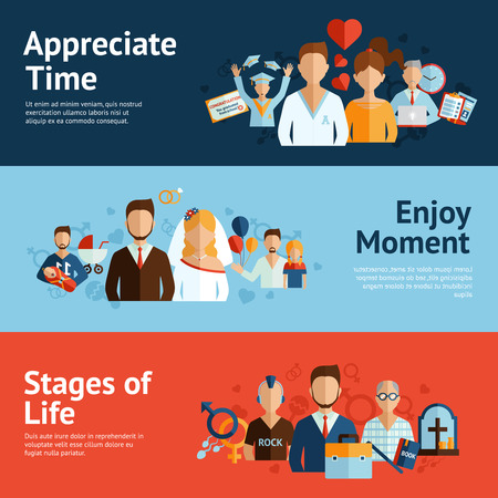 life stages: Human life stages precious moments of graduation marriage and childbirth banners set flat abstract isolated vector illustration