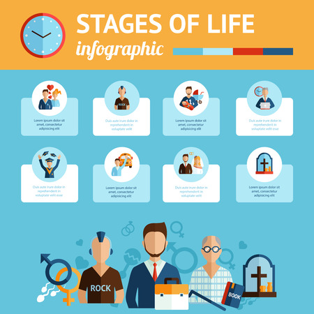 life and death: Concise infografic stages of human life cycles report presentation graphic document with symbolic timeline abstract vector illustration Illustration