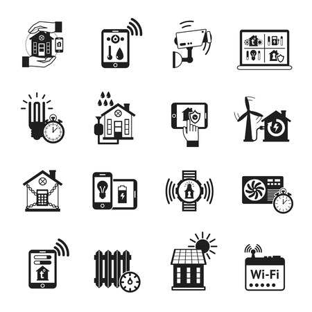 guard house: Smart house automatic heating control and security camera protection system black icons set abstract isolated vector illustration