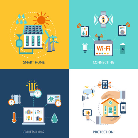 Smart home wireless computer connection controlling and protection systems 4 flat icons composition abstract isolated vector illustration Illustration