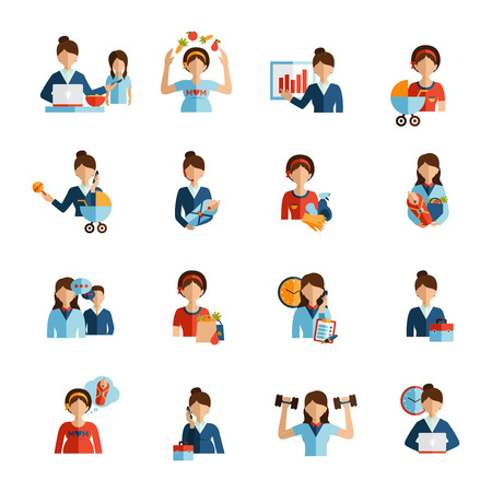 work home: Businesswoman mother daily routine successful work family and fitness combination flat icons set abstract vector isolated  illustration