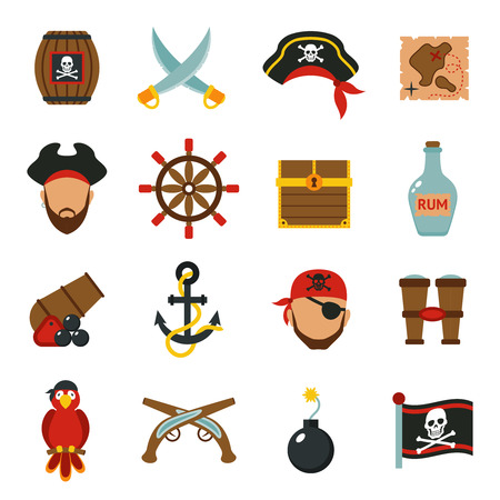 calavera pirata: Accesorios para Pirata símbolos Colección de los iconos plana con cofre del tesoro de madera y bandera Jolly Roger resumen ilustración vectorial