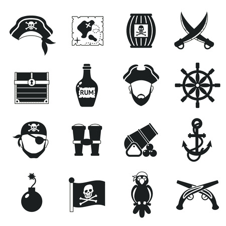Golden age pirate adventures toy accessories pictograms for children party game  icons set black abstract vector illustration