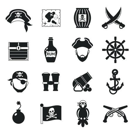 Goldene Zeitalter Piratenabenteuer Spielzeug Zubehör Piktogramme für Kinder-Party-Spiel-Icons Set schwarze abstrakte Vektor-Illustration Vektorgrafik