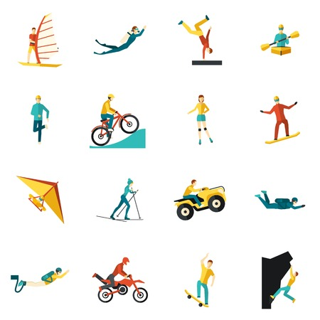 ski jump: Extreme sports flat icons set with kite cycling rowing isolated vector illustration