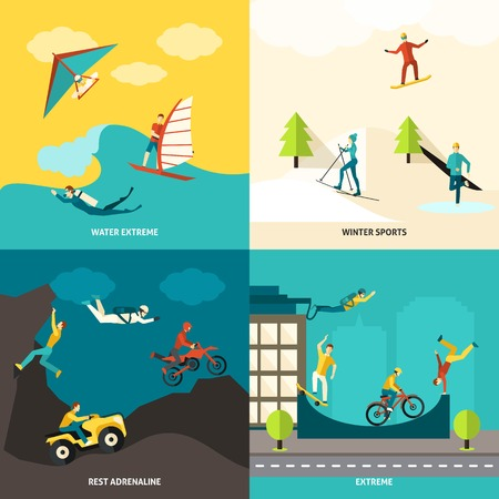 adrenalin: Extreme sports design concept set with winter and water adrenaline adventures flat icons isolated vector illustration