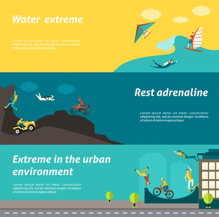 water jet: Extreme sport horizontal banner set with water urban adrenaline adventure elemetns isolated vector illustration
