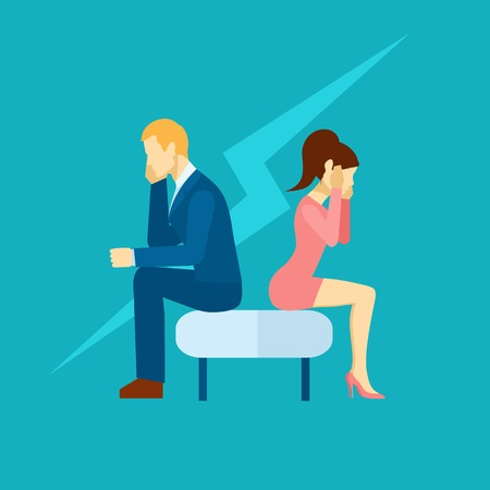 overwhelmed: Depression icon with sad man and woman sitting on the couch flat vector illustration