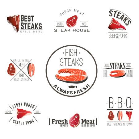atun: Las mejores filetes de pescado de carne fresca de calidad para la recolección de barbacoa y parrilla asador etiquetas abstracto vector ilustración aislada