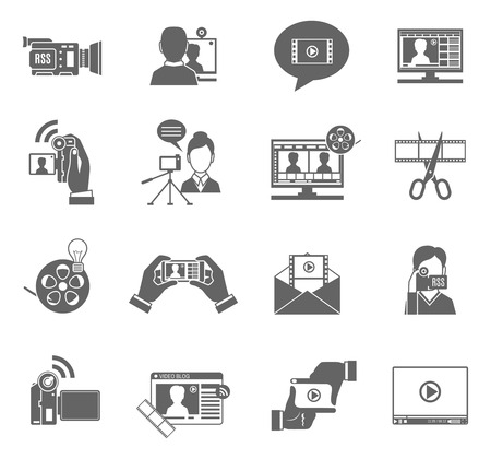 video icons: Video blog social media communication black icons set isolated vector illustration