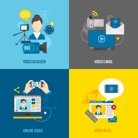 blog: Online video blog design concept set with blogger media flat icons isolated isolated vector illustration