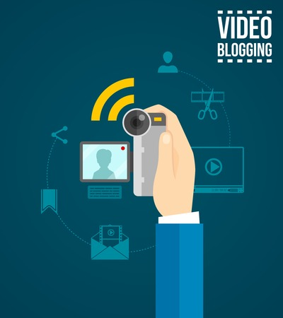 video camera icon: Video blogging concept with human hand holding camera flat vector illustration