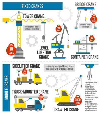 tower crane: Lifting equipment infographics set with cranes and heavy machinery symbols vector illustration Illustration