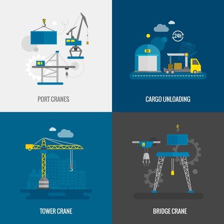 camion grua: Equipo elevador concepto de diseño conjunto con iconos planos torre de puerto de grúas puente aislado ilustración vectorial