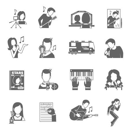 pop musician: Pop star singer famous musician black icons set isolated vector illustration