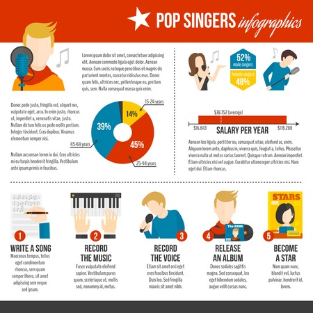 pop singer: Pop singer infographics set with live concert album record symbols vector illustration Illustration