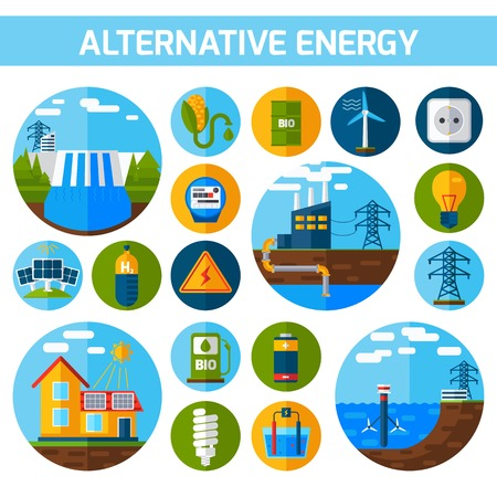 energy: Alternative atom water solar energy icons flat set isolated vector illustration