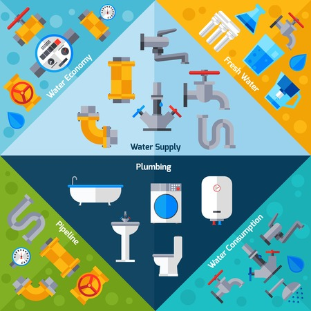 plumbing supply: Water supply corners set with plumbing pipeline and bathroom accessories isolated vector illustration Illustration