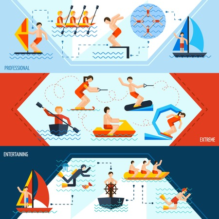 kite surf: Water sports horizontal banners set with professional extreme and entertaining elements isolated vector illustration