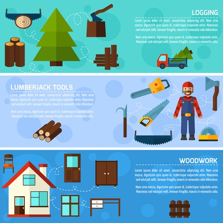 logging: Woodworking industry horizontal banners set with logging lumberjack tools elements isolated vector illustration