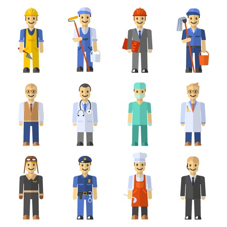 police cartoon: Profession people set with engineer worker pilot teacher isolated vector illustration